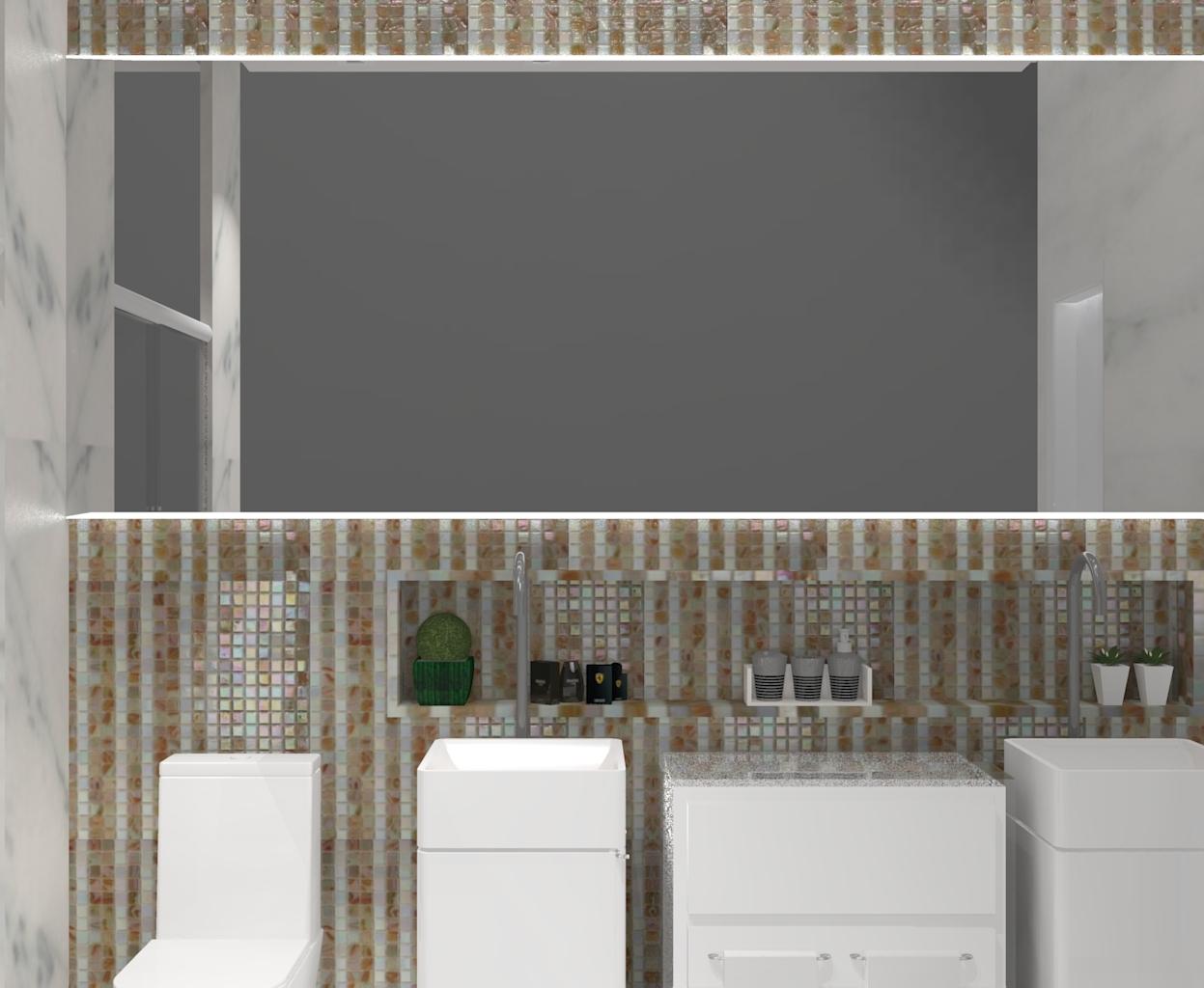 Banheiro modermo cubas em detalhe