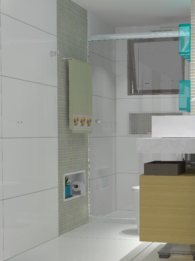 Banheiro com nicho azul vista da porta i