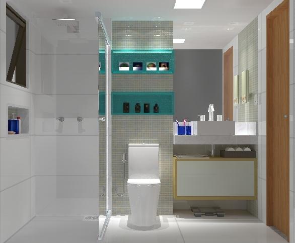 Banheiro com nicho azul