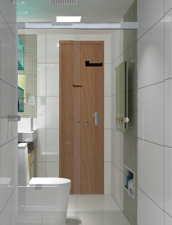 Banheiro com nicho azul vista do box