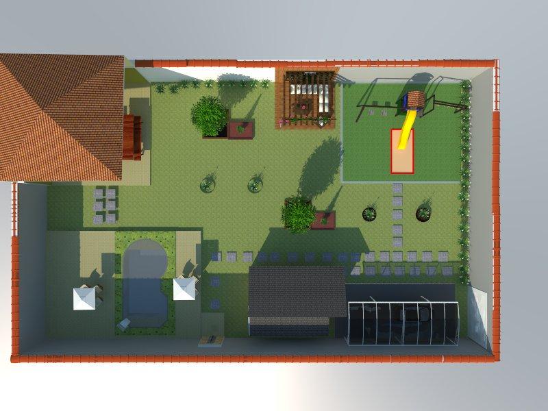 Casa e jardim vista de cima