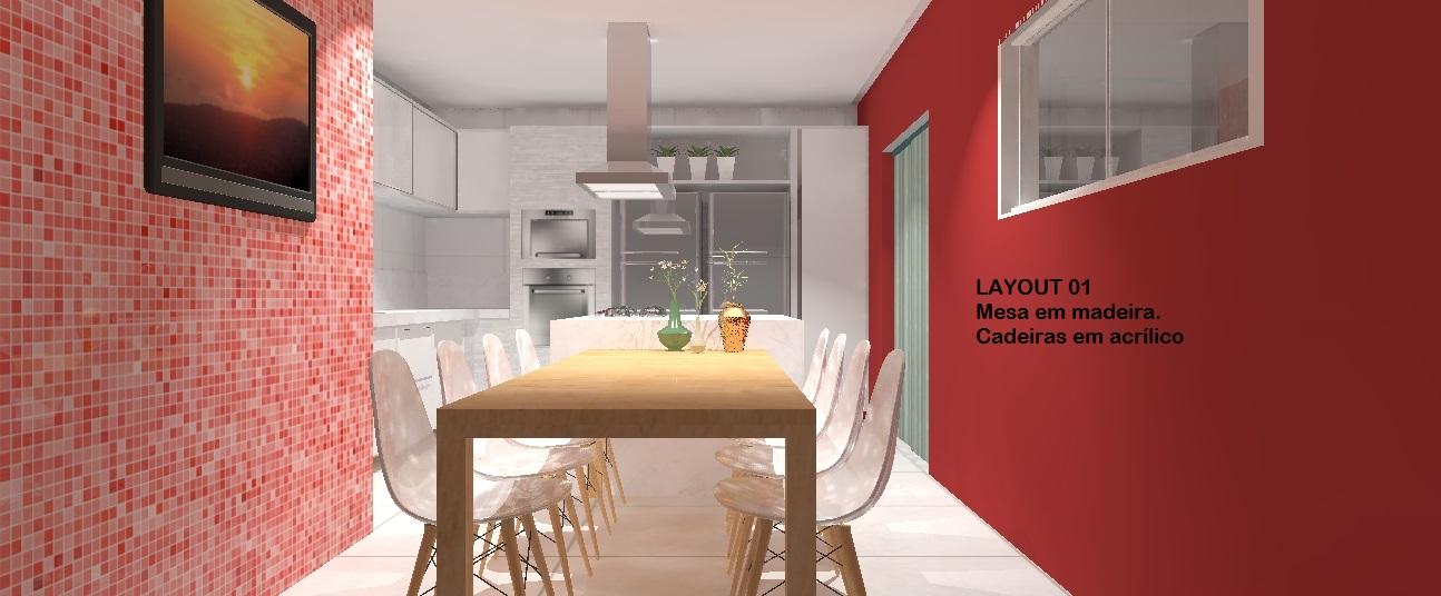 Cozinha 01 cad branca parede verm mesa madeira %282%29
