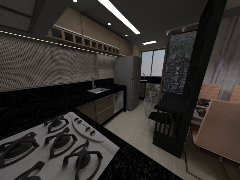 Render   sala e cozinha